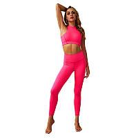 Комплект женский лосины с высокой посадкой и топ Lesko ZC-2148 Light Pink L для пробежки йоги фитнеса и спорта