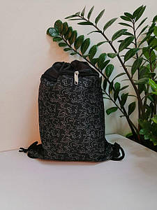 Сумка-рюкзак для сменной обуви черная для мальчика 44*34 см