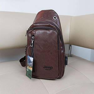 Коричневый рюкзак-бананка из кожзама с одной лямкой Jeep 31*18*10 см