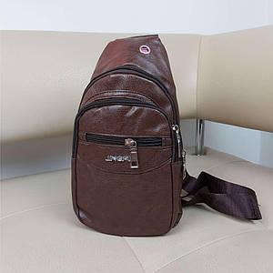 Коричневый слинго-рюкзак из кожзама Valiria Fashion 31*18*10 см