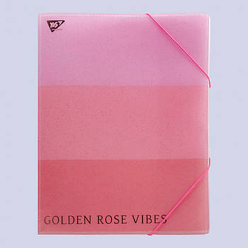 Папка-органайзер А4 на резинке на 4отделения YES ROSEGOLD Розовая (491749)