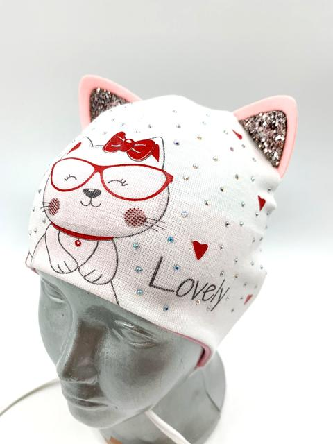 Бавовняна дитяча шапочка з завязками (для хлопчика, для дівчинки)