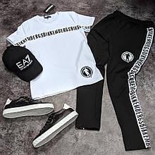 Мужской летний костюм Bikkembergs CK904 бело-черный