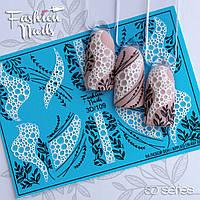 Декор для маникюра наклейка на ногти Fashion Nails водный цветной 3D слайдер-дизайн пенный декор (3D/109))