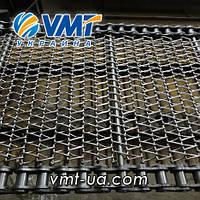 Сетка транспортерная с цепью с канилированным стержнем  Шаг цепи 31,75
