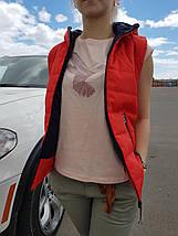 Жилет женский красный демисезонный на синтепоне с капюшоном 44 р. BR-S (1230523299), фото 3