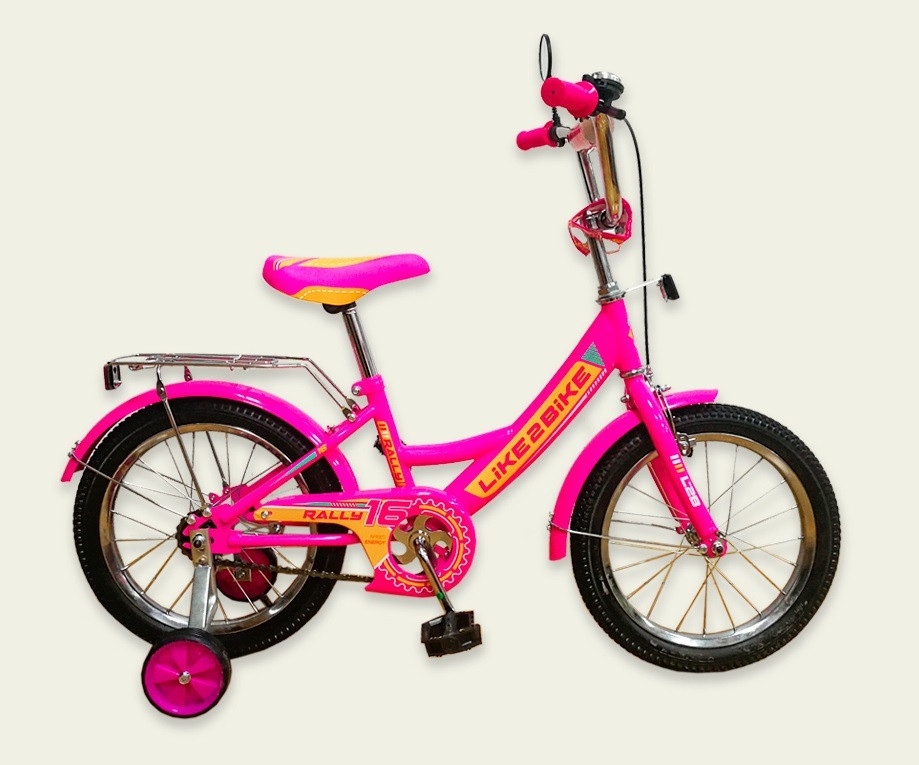 "Велосипед 2-х колесный 12"", СОБРАН НА 75%, Like2bike RALLY, фуксия, без переднего тормоза, 191218"