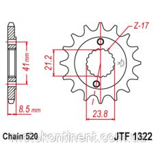 JTF1322.13 Звезда передняя 13 зубов для мотоциклов  CRM250R, CRM250AR XR400R, XR400SM, CL400, CB400SS