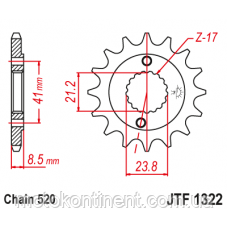 JTF1322.13 Звезда передняя 13 зубов для мотоциклов  CRM250R, CRM250AR XR400R, XR400SM, CL400, CB400SS, фото 2