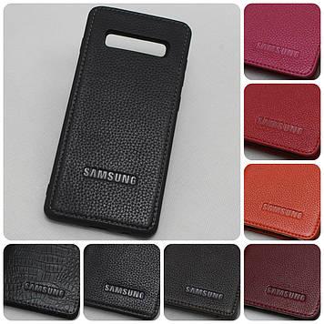 """Samsung S10+ G975 оригинальный кожаный чехол панель накладка бампер противоударный бренд """"LOGOs"""""""
