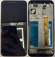 Дисплей  Lenovo K5 Play + тачскрин (сенсор), черный, в рамке синего цвета