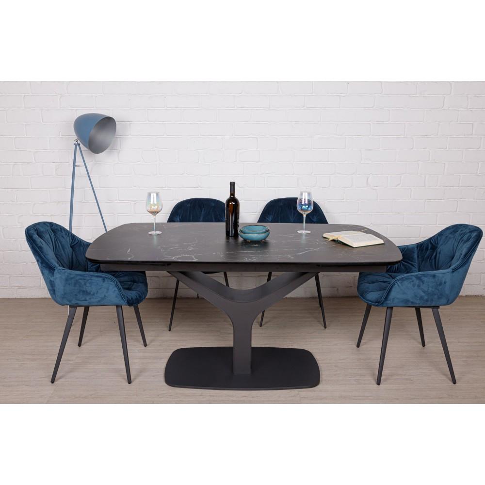 Стол VULCAN oval (160/240*90*76cmH керамика) черный под мрамор от Niсolas