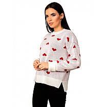 Свитер в сердечки женский с сердечками, размер 42-46, фото 3