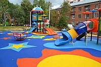 Наливное бесшовное резиновое покрытие для детских площадок 15мм