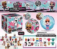 Игровой набор кукла BELA DOLLS BL1176 куклы с глиттерн волосами+аксес. внутри, шар с блестками, свет ...