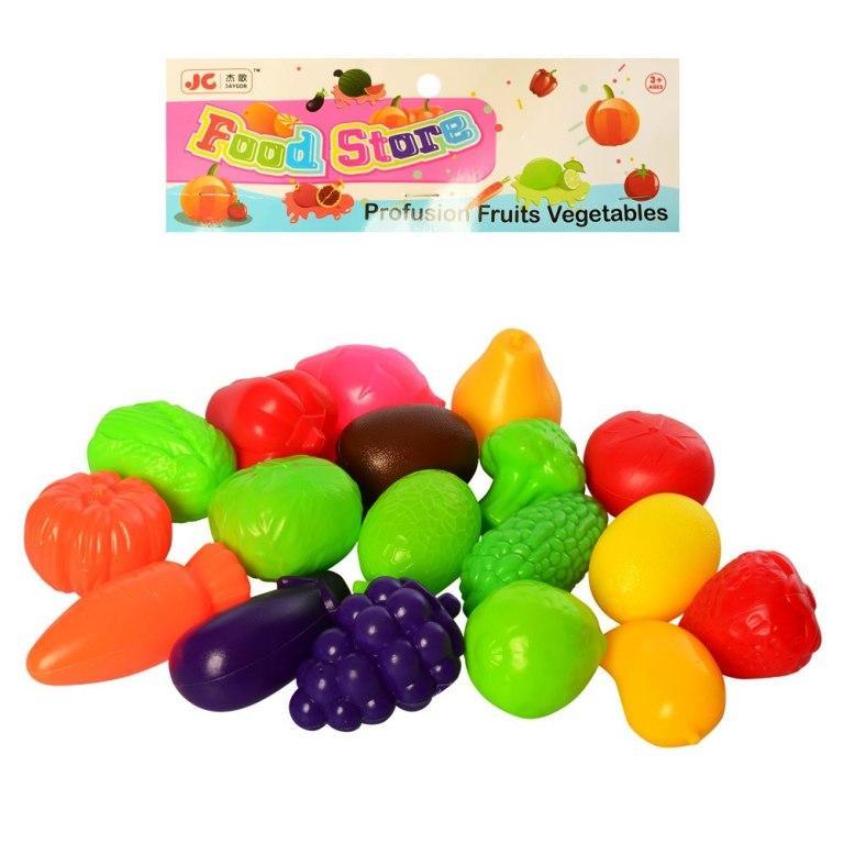 Продукты 8696 овощи/фрукты, 18 шт, от 4см, в кульке, 19,5-25-6см
