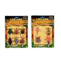 Животные резиновые W6328-144/143 жуки и насекомые, на планшетке 18*22см /цена за планшет/
