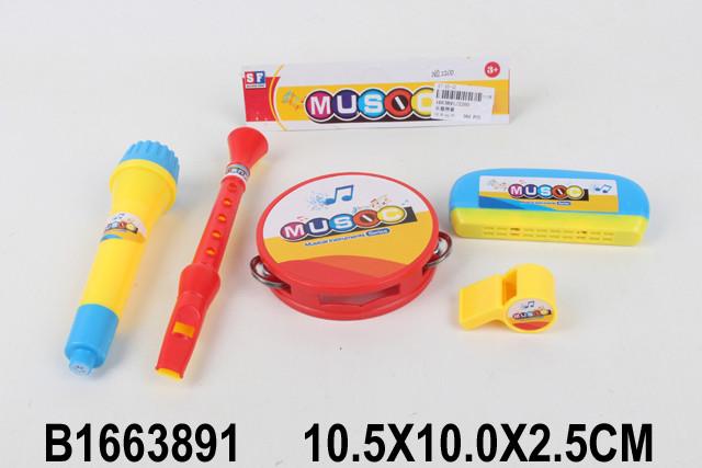 Муз.инструменты 2200 (1663891) микрофон, бубен,дудка, свисток, губная гармошка,в пакете 10*