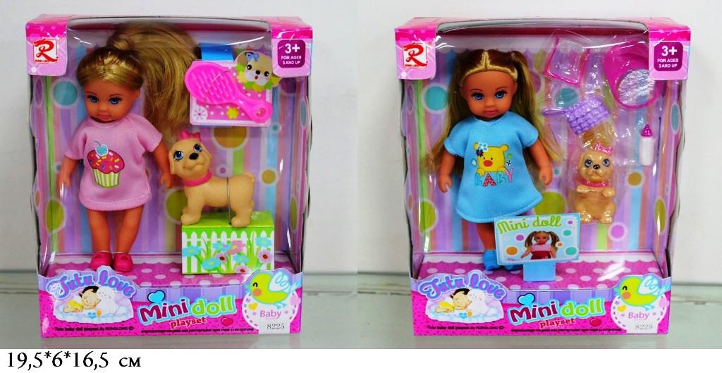 Лялька 13см 8225/8229 з собачкою і аксес. 2в. кор. 19,5*6*16,5