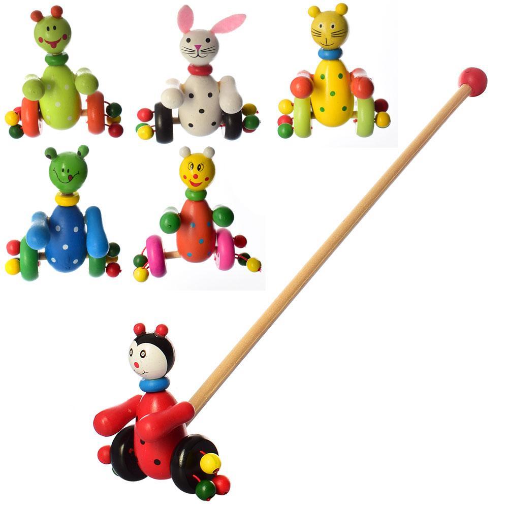 Деревянная игрушка Каталка MD 0024  на палке 48,5см, животное / насекомое 12см, 6 видов, в ку