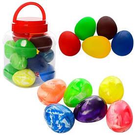 Стрибуни MS 0996, 6см, яйце, каучук, 2вида, мікс кольорів, 18шт в дисплеї (колба), 12-17-12см