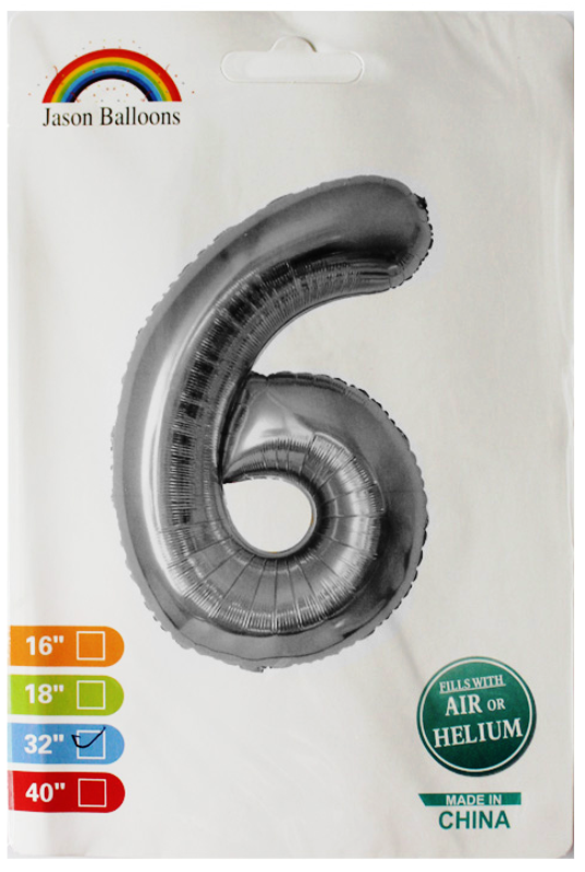 """Шарики надувные фольгированные 32 дюйма, цифра """"6"""" серебро (991018)"""