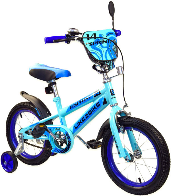 "Велосипед 2-х колесный 14"", СОБРАН НА 75%, Like2bike Sprint, голубой, 191422"
