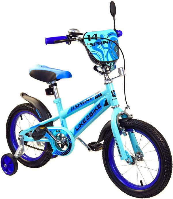 """Велосипед 2-х колісний 14"""", ЗІБРАНИЙ НА 75%, Like2bike Sprint, блакитний, 191422"""