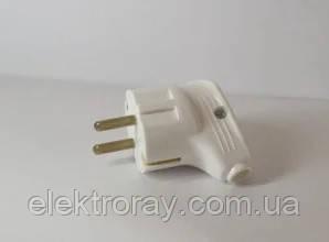 Вилка штепсельная электрическая евро Светоприбор белая, фото 2