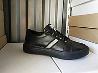 Стильные женские черные кожаные кроссовки 36-40 р-р, фото 1