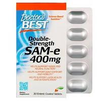 SAM-e (S-аденозилметионин) Double Strength  Doctor's Best, 400 мг, 30 таблетки,, фото 1