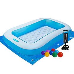 Детский надувной бассейн Intex 166х100х28 см, с шариками 10 шт, подстилкой, насосом