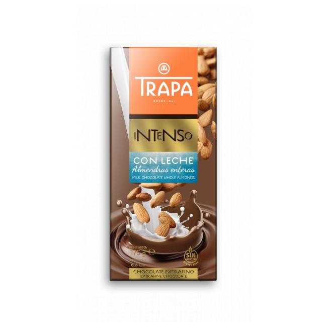 Шоколад TRAPA INTENSO молочний з мигдалем 175г