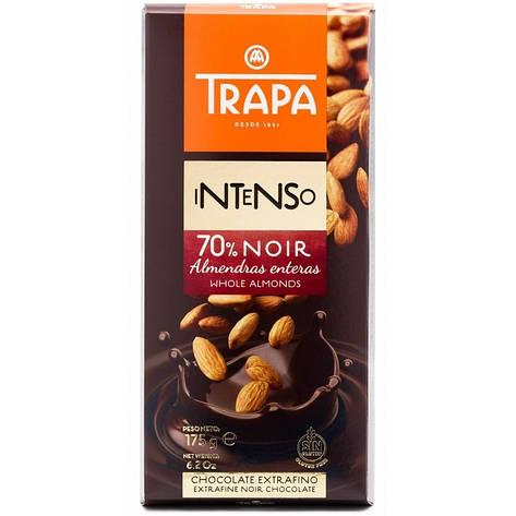 Шоколад TRAPA INTENSO чорний 70% з мигдалем 175г, фото 2