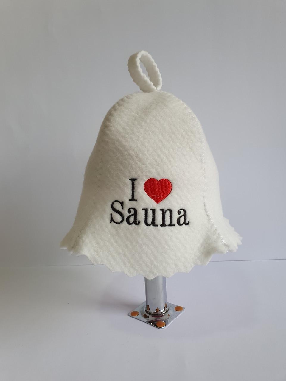 Шапка для бані та сауни з яскравою вишивкою I love sauna