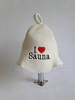 Шапка для бані та сауни з яскравою вишивкою I love sauna, фото 1