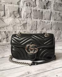 Женская кожаная сумка  GUCCI GG MARMONT черная