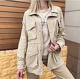 Комбинированная удлиненная джинсовая куртка с накладными карманами, 3 цвета, Р-р.42-44,44-46 Код 680Т, фото 2