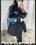 Комбинированная удлиненная джинсовая куртка с накладными карманами, 3 цвета, Р-р.42-44,44-46 Код 680Т, фото 3
