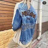 Комбинированная удлиненная джинсовая куртка с накладными карманами, 3 цвета, Р-р.42-44,44-46 Код 680Т, фото 5