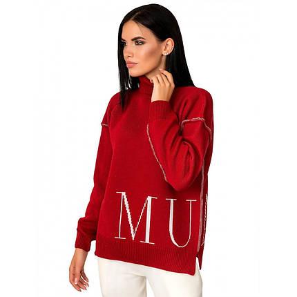 Стильный  свободный красный женский свитер под горло  размер 42-46, фото 2
