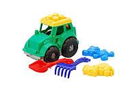 """Трактор """"Кузнечик"""" №2: трактор, лопатка и грабельки (ЛГ4), две большие пасочки (П4) 0213"""