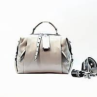 Женская сумка серая среднего размера повседневная натуральная кожа, фото 1
