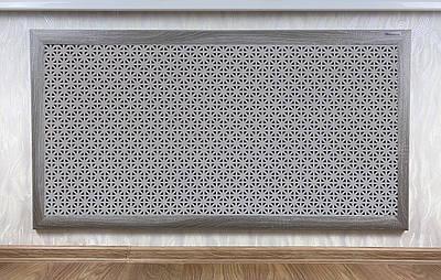 "Решетка на чугунную батарею ""Стандарт"", 68 см х 98 см, цвет серый Сити"