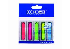 """Індекси паперові Economix E20947 """"Покажчики"""" 12*45 мм mix 5 кольорів НЕОН 125 аркушів (20 шт в уп)"""