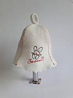 Шапка для бані та сауни з яскравою вишивкою Зайчик, фото 1