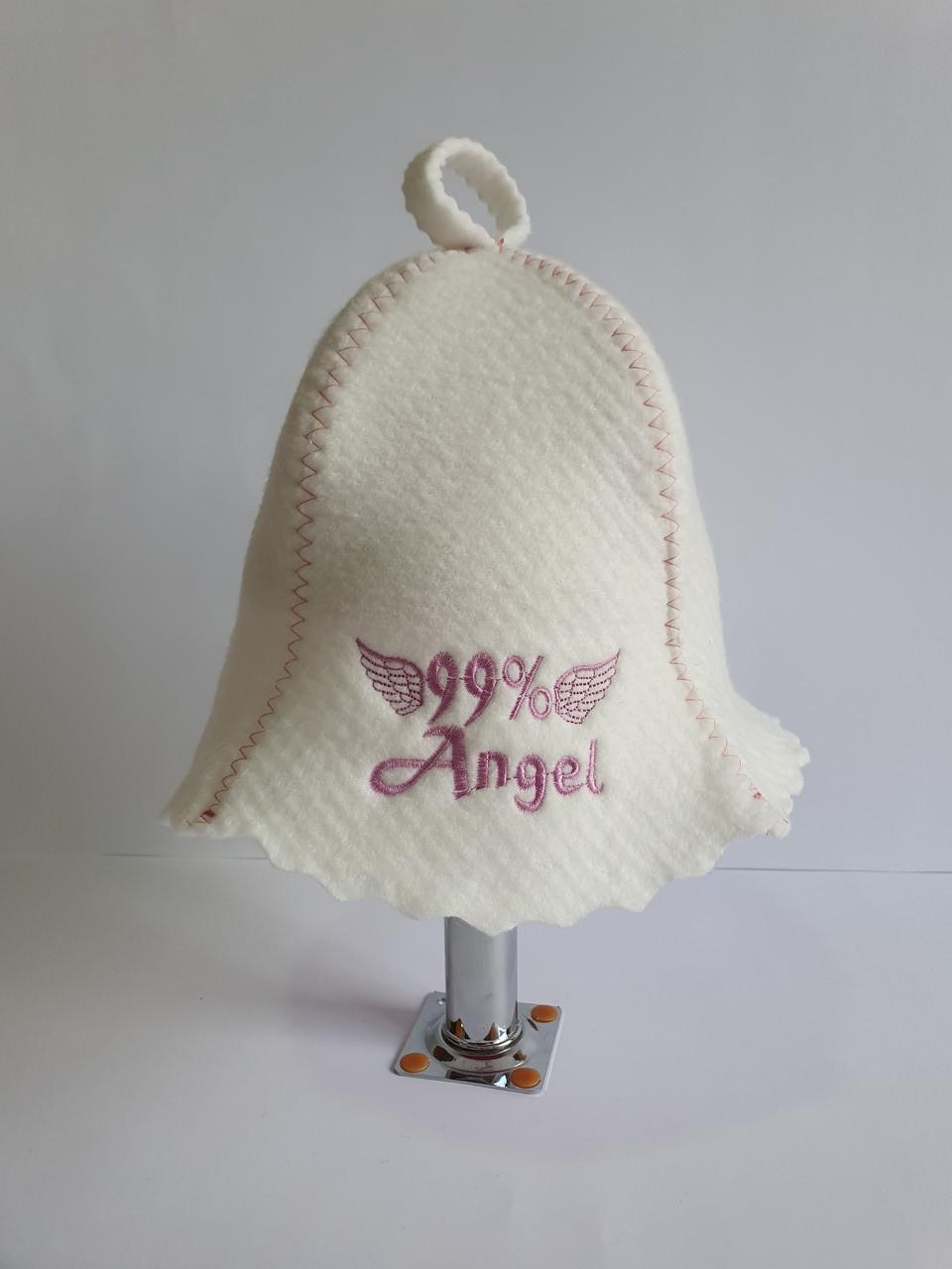 Шапка для бані та сауни з яскравою вишивкою 99% Angel