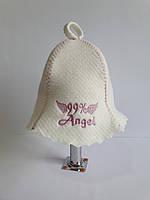 Шапка для бані та сауни з яскравою вишивкою 99% Angel, фото 1