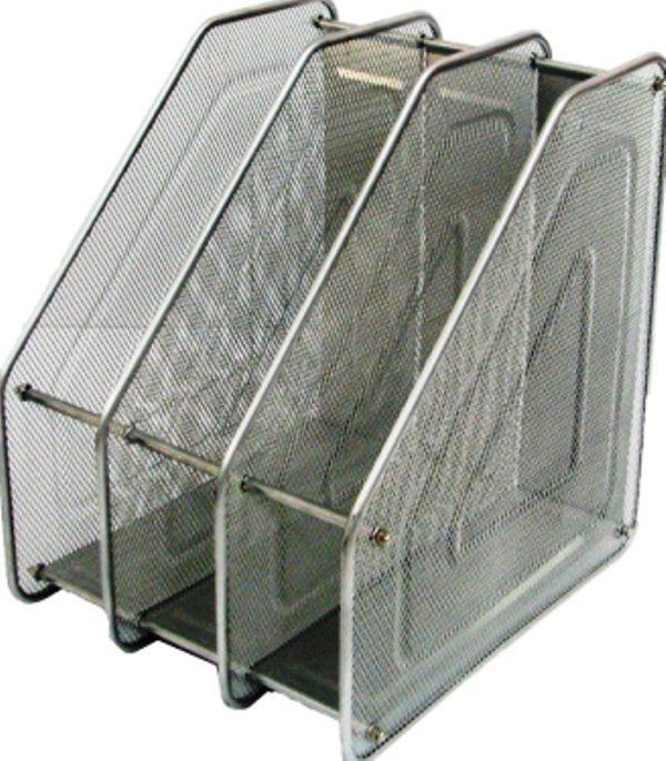 Лоток вертикальный сборный на 3 отделения металлический серебро 535540