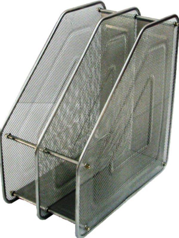 Лоток вертикальный сборный на 2 отделения металлический серебро 535530